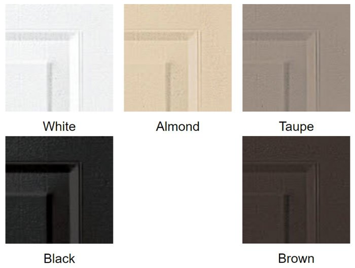 White, Almond, Taupe, Brown, Black
