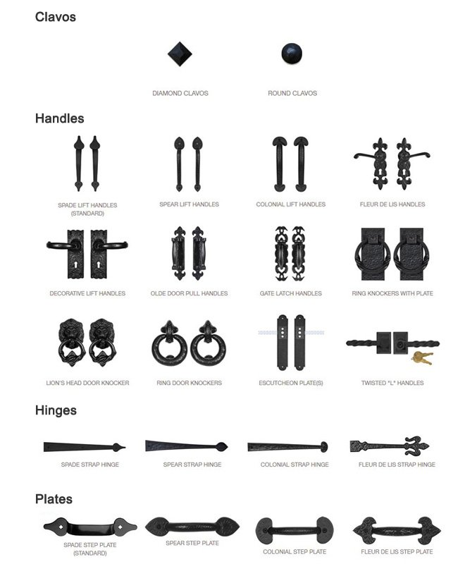 Hardware Options: Clavos, Hinges, Handles, Plates